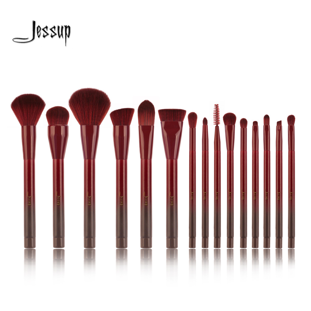 [해외]제 슈트 15pcs Winered Makeup Brushes Set 파우더 파운데이션 아이 섀도우 아이 라이너 립 컨투어 컨실러 Smudge Make Up Brush Tools/Jessup 15pcs Winered Makeup Brushes Set Powder