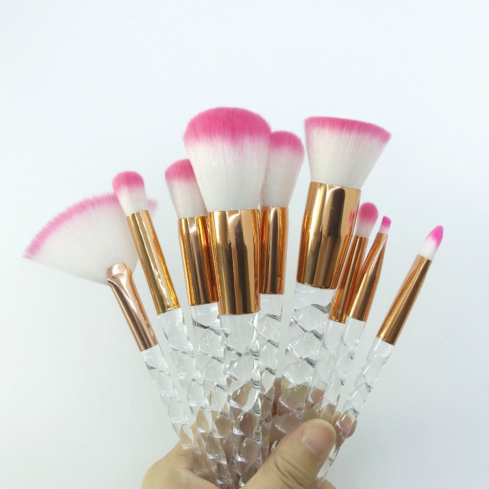 [해외]유니콘 크리스탈 메이크업 브러쉬 세트 소프트 합성 팬 페이스 파우더 블러쉬 립베이스 아이 섀도우 브로우 메이크업 전문 브러쉬/Unicorn Crystal Make Up Brush Set Soft Synthetic Fan Face Powder Blush Lip B