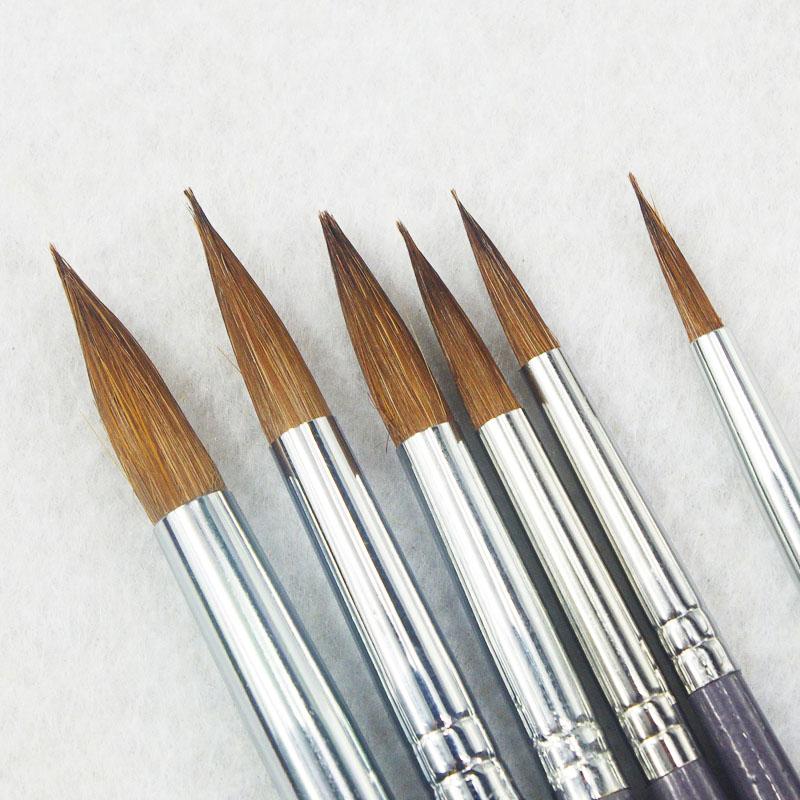 [해외]6pcs / set 긴 막대 족제비 머리 라운드 붓을 지적했다 아크릴 물감 구 아슈 물 컬러 브러쉬 아트 오일 페인트 브러쉬 아트 용품/6pcs/Set long rod weasel hair pointed round paintbrush acrylic paints