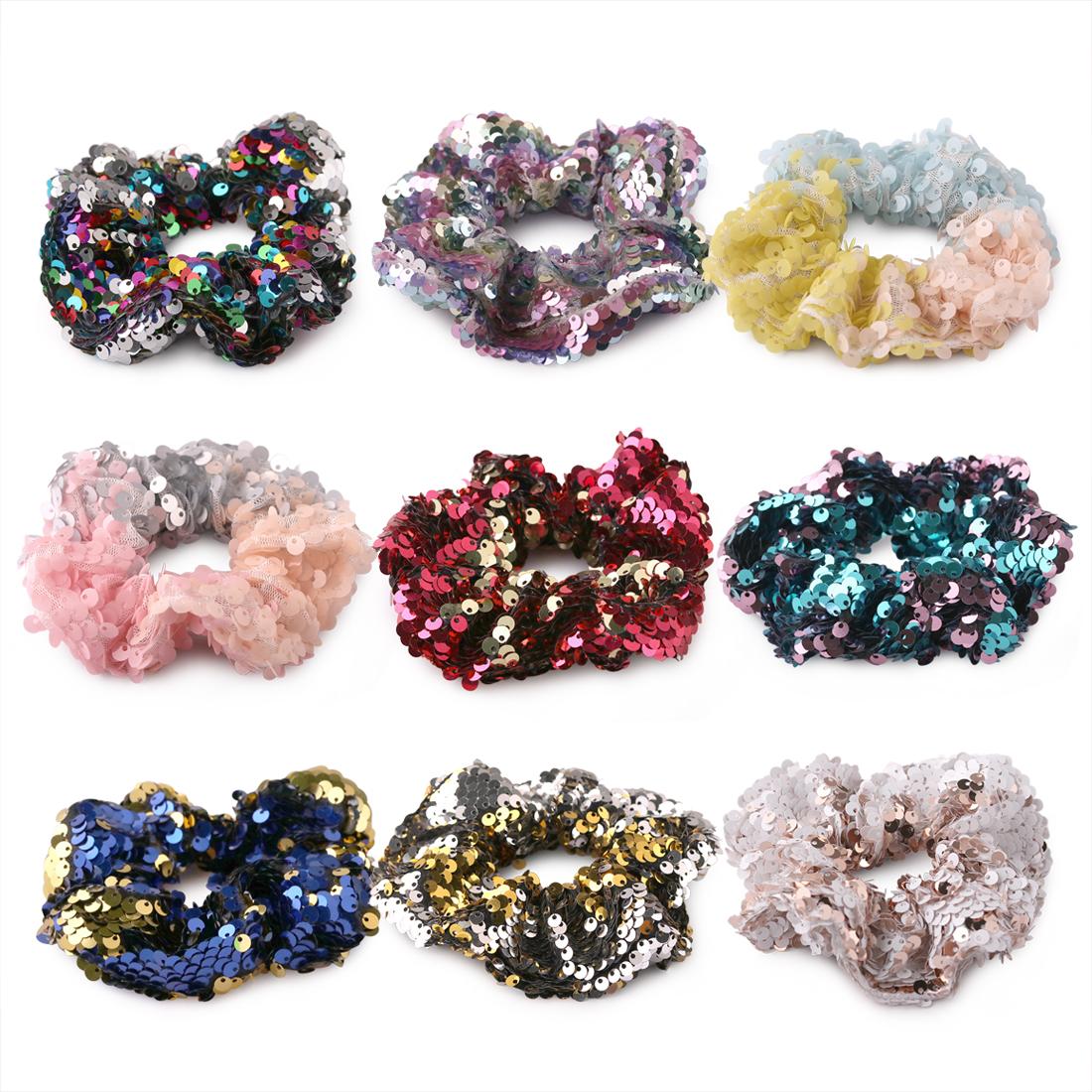 [해외]XIMA 9pcs / lot 가역 변경 색 스팽글 패브릭 헤어 넥타이 여성을양면 머리 스타일 밴드/XIMA 9pcs/lot  Reversible Change Color Sequins Fabric Hair Ties Reversible Bow Hair Band fo