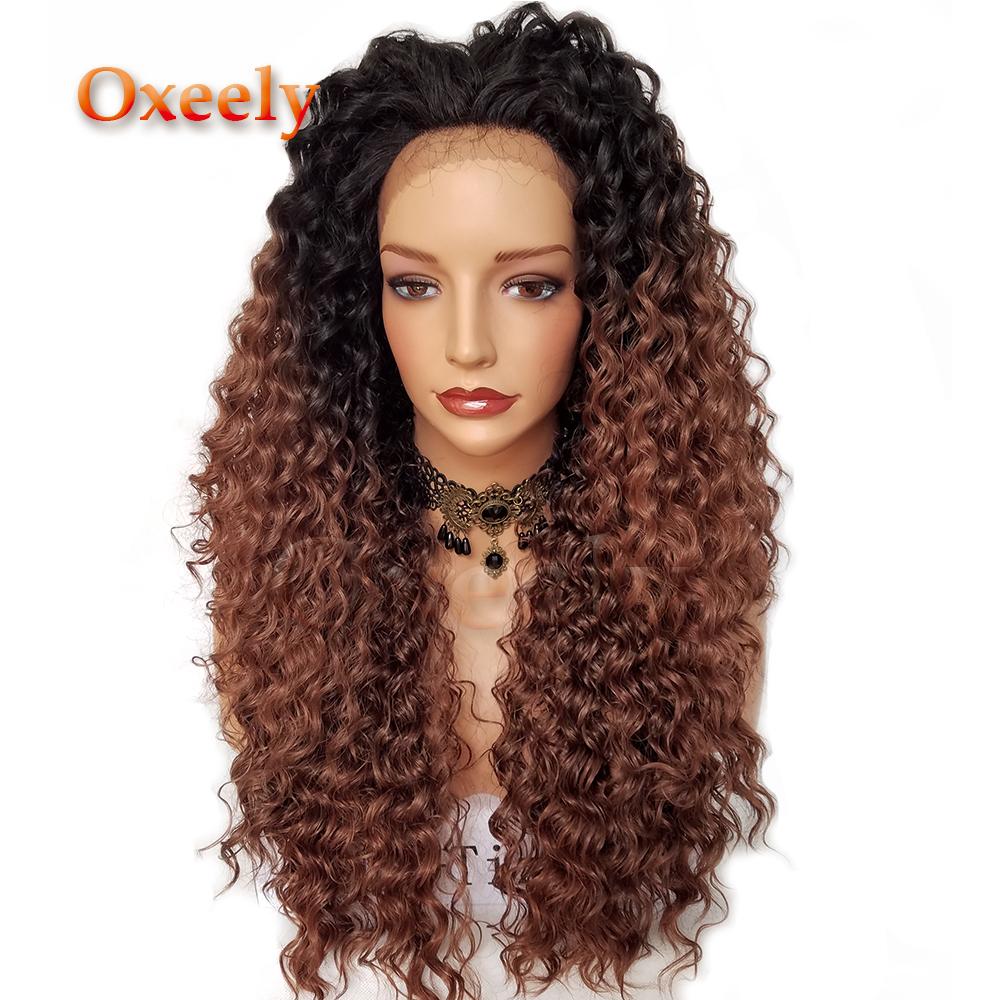 [해외]Oxeely Kinky 컬 합성 레이스 프론트 가발 옹이 머리카락 30 헤어 컬러 블랙 루트 내열성 천연 아기 헤어/Oxeely  Kinky Curl Synthetic Lace Front Wigs Ombre Hair 30 Hair Color Black Roots