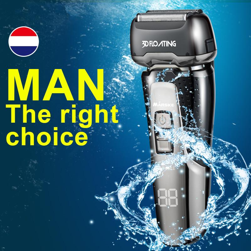 [해외]충전식 전기 면도기 면도기 디지털 방수 스테인레스 스틸 수염 면도 기계 110-240V 제모 남성용/Rechargeable Electric Shaver Razor Digital Waterproof Stainless Steel Beard Shaving Machin