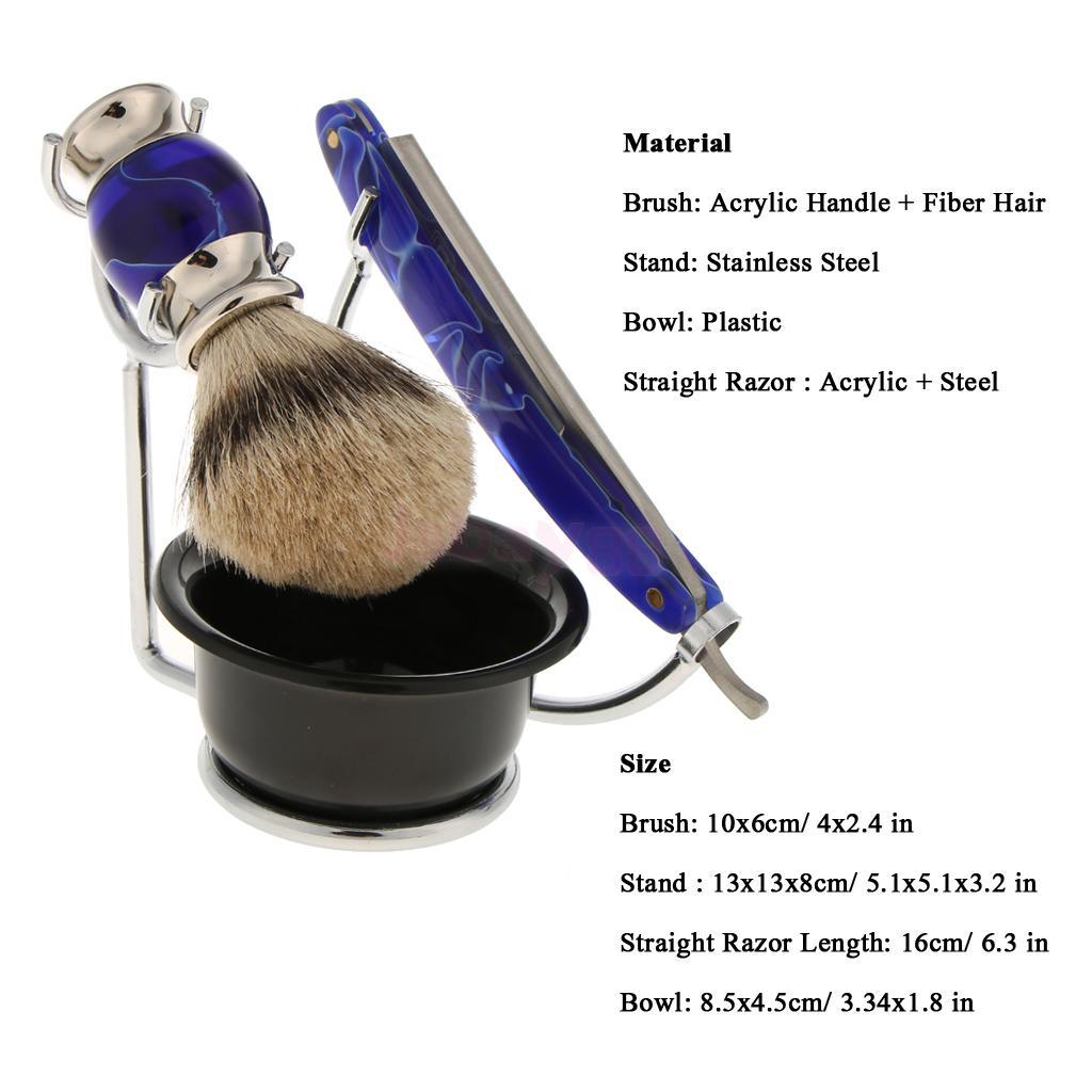 [해외]세트 4pcs 남자 얼굴 정리 장비 - 아크릴 면도 브러쉬 + 스테인레스 스틸 면도 스탠드 홀더 랙 + 스트레이트 면도기 + 보울/Set 4pcs Men Facial Grooming Kit -  Acrylic Shaving Brush + Stainless Ste