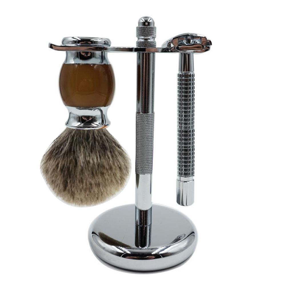 [해외]ALIVER 3 세트 / 수동 면도기 세트 안전 면도기 면도 브러쉬 및 강력한 스탠드 홀더 면도기/ALIVER 3 Pcs/ Set Manual Shaver Set Safe Razor Shaving Brush and Strong Stand Holder Shaver