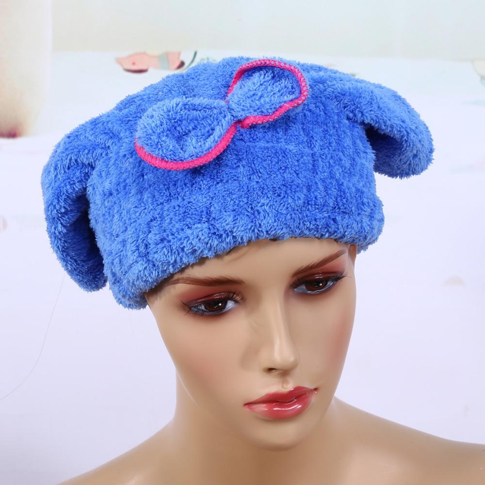 [해외]블루 / 핑크 퀵 헤어 드라이빙 캡 햇 마이크로 화이버 울트라 흡수성 헤어 타올 드라이 랩 뱃머리 매듭 장식 캡 퀵 드라이 헤어 타워/Blue/Pink Quick Hair Drying Cap Hat Microfiber Ultra Absorbent Hair Tow