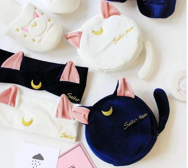 [해외]anime card captor 사쿠라 선원 문 봉제 루나 고양이 화장품 메이크업 가방 가방 주머니 의상/anime card captor sakura sailor moon plush luna cat cosmetic Makeup Bag bag pouch costu