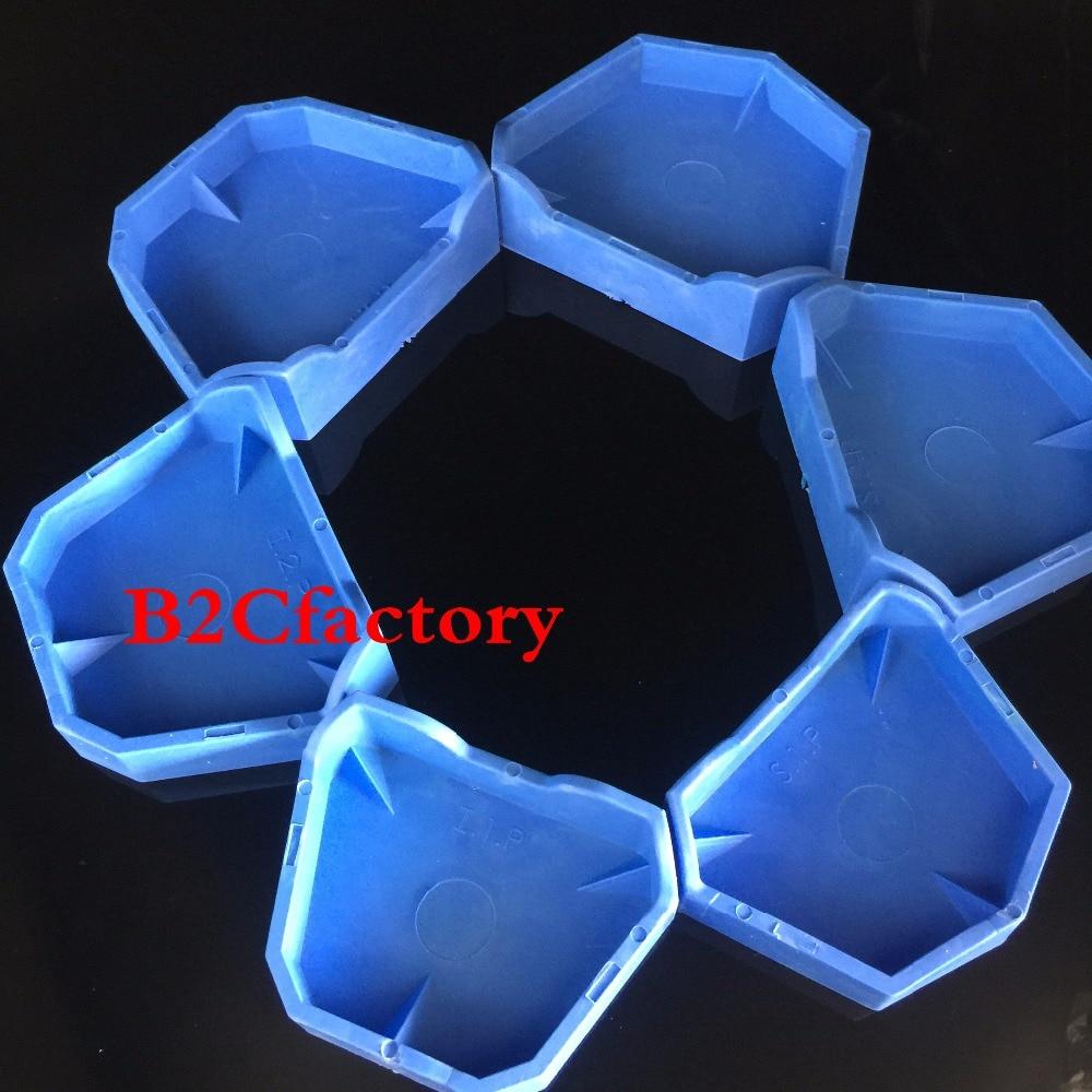 [해외]6pcs 치과 실험실 석고 모델 BaseNotches 이전 주형 트레이 치과 도구 블루/6pcs Dental Lab Plaster Model BaseNotches Former Molds Tray Dentist Tool Blue