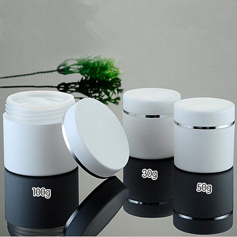 [해외]30pcs / lot Hot 플라스틱 크림 항아리 30g 50g 100g 라운드 자료 PP 클리어 크림 냄비 화장품 용기 메이크업 샘플 항아리 포장 병/30pcs/lot Hot Plastic Cream Jar 30g 50g 100g Round Base PP Cl