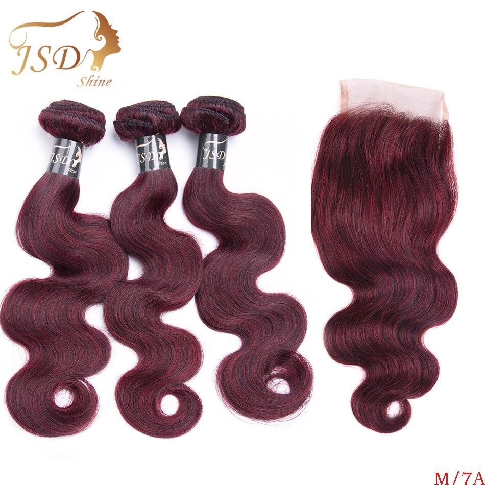 [해외]/ JSDShine Red 99J Burgundy Brazilian Body Wave Human Hair Weave 3 BundlesClosure Non Remy  Hair Extension