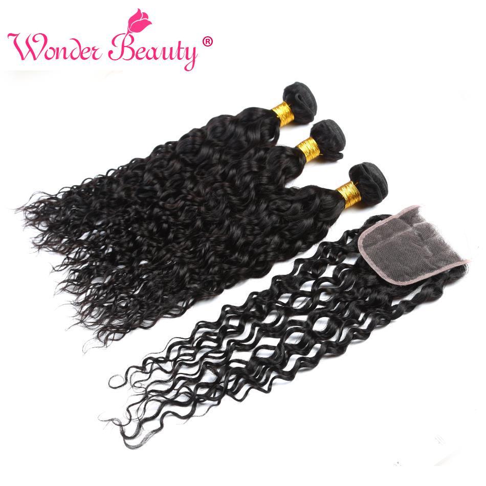 [해외]/Wonder Beauty Peruvian Hair Water Wave 3 BundlesClosure 100% Human Hair 3 bundles Non Remy Hair Extensions