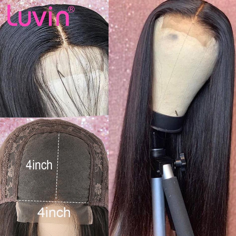 Luvin 26 28 인치 13x6 스트레이트 Glueless 가짜 두피 레이스 프론트 인간의 머리 가발 스위스 보이지 않는 사전 뽑아 브라질 정면 가발