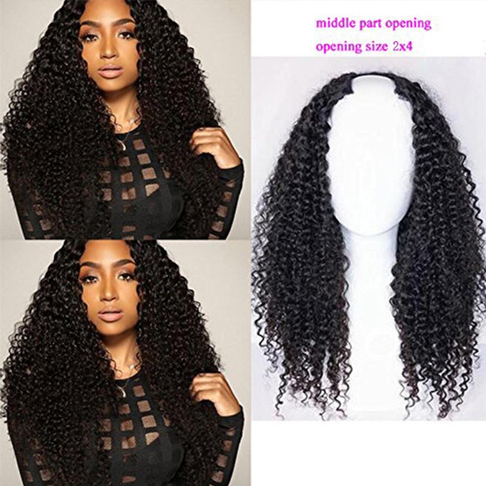Simbeauty 100% 인간의 머리카락 곱슬 U 부분 가발 흑인 여성을위한 중간 부분 250% 밀도 브라질 레미 헤어 곱슬 가발 풀 엔드