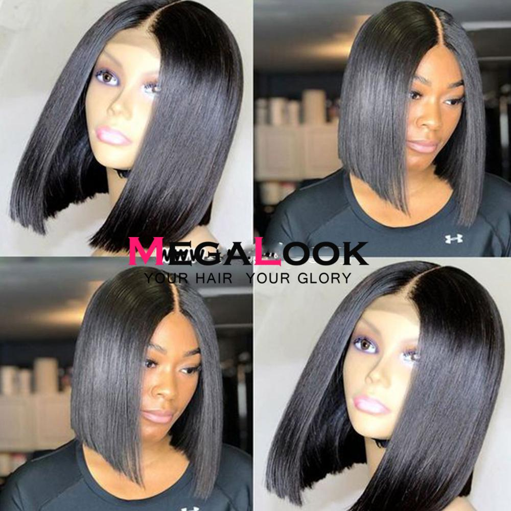[해외]Megalook Kim K Closure Wig 2by6 Short Lace Human Hair Bob Wigs 180% Density Brazilian Hair Wigs Natural Color Remy/Megalook Kim K Closure Wig 2by6