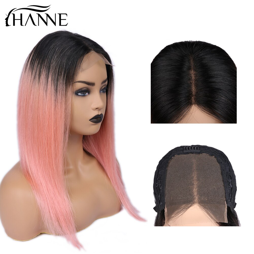 [해외]Brazilian 4*4 Lace Frontal Wig 1B Ombre Pink Straight Wigs Lace Closure Human Hair Wigs For Black Women 150% Density HANNE Hair/Brazilian 4*4 Lace