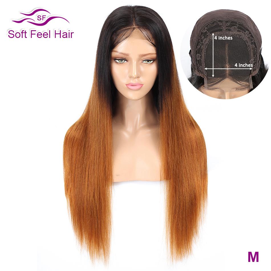 [해외]Soft Feel Hair 4x4 ombre 레이스 클로저 인간의 머리 가발 pre plucked ombre 흑인 여성을위한 브라질 스트레이트 가발 t1b/30 레미 가발/Soft Feel Hair 4x4 ombre 레이스 클로저 인간의 머리