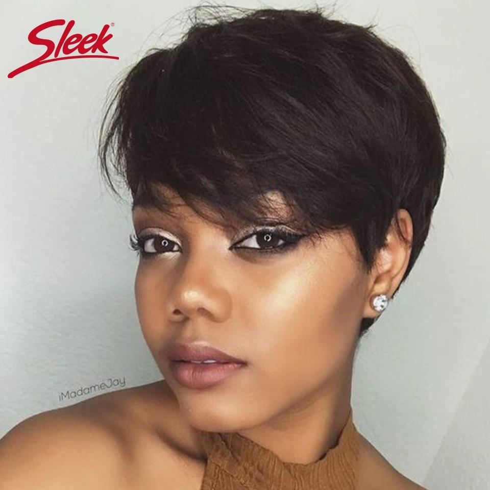 [해외]Sleek Brazilian Short Human Hair Wig 100% Remy Human Hair Wig For Black Women Ombre Non Lace Pixie Cut Wig /Sleek Brazilian Short Human Hair Wig 1