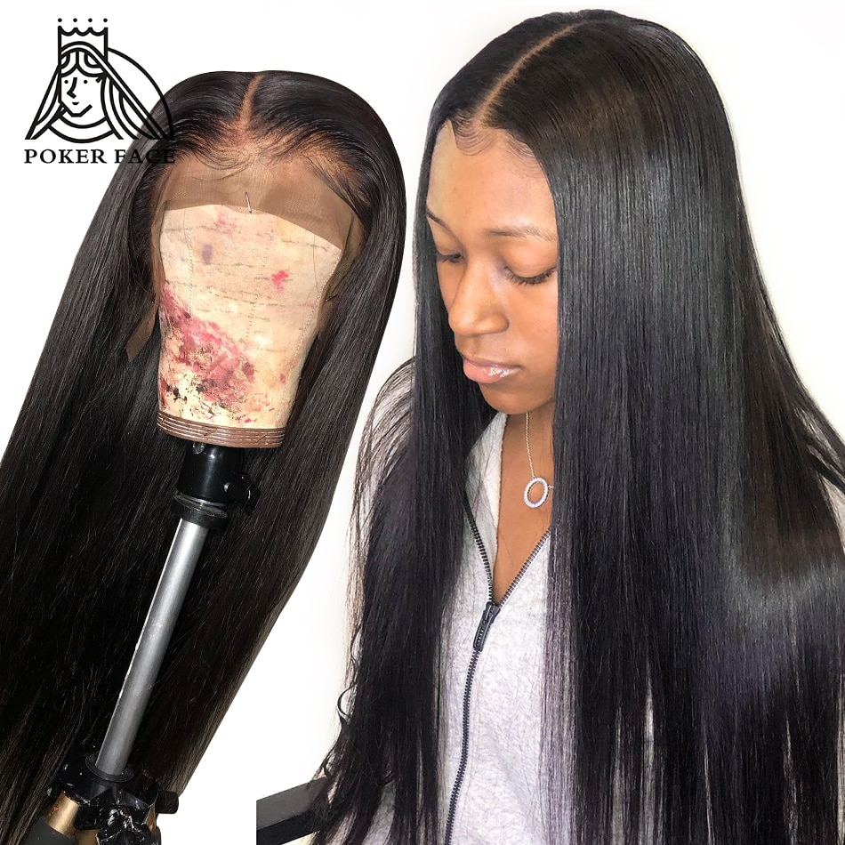 [해외]Poker Face Straight Full Lace Wig Virgin Hair 250% Density 360 Lace Frontal Wig For Women Indian Human Hair Natural/Poker Face Straight Full Lace
