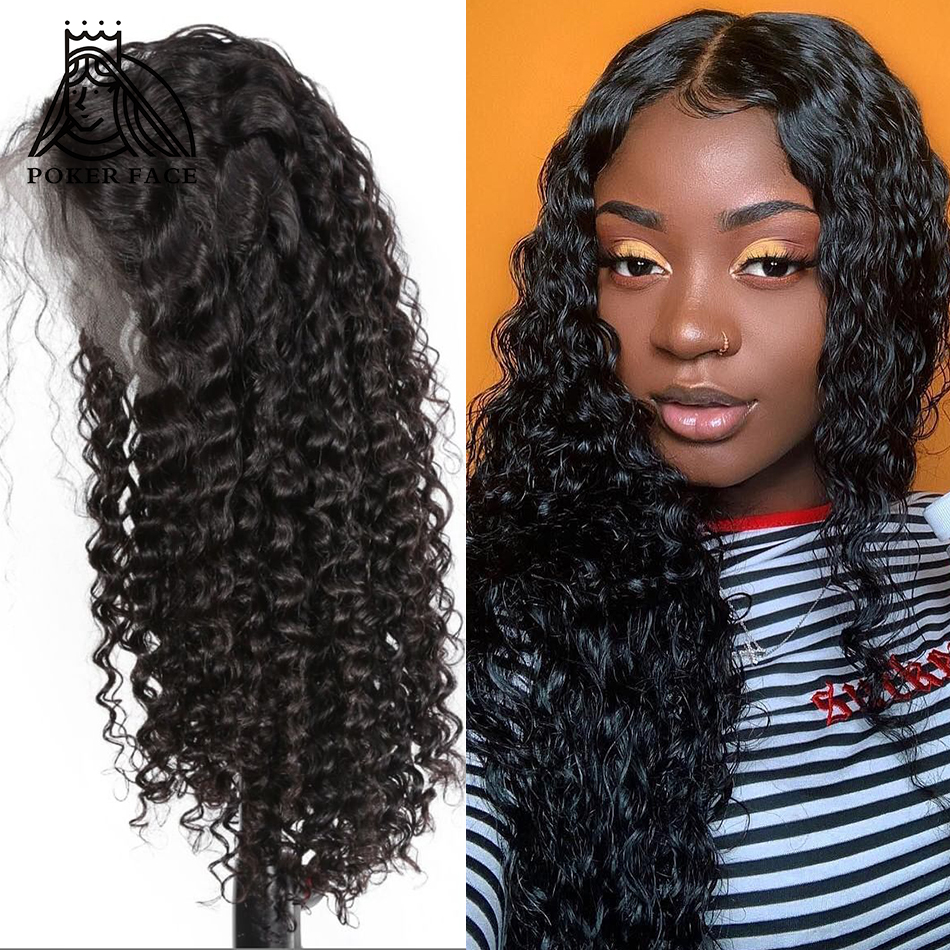 [해외]Poker Face Brazilian Hair 360 Lace Frontal Wig Deep Wave 250% Density Pre Plucked Natural Human Virgin Hair 12-26 Inch/Poker Face Brazilian Hair 3