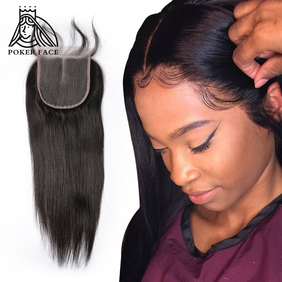 [해외]Poker Face Straight Lace Closure Remy Hair Indian can be dyed for all color Free Middle Three Part 8-20 inch/Poker Face Straight Lace Closure Remy