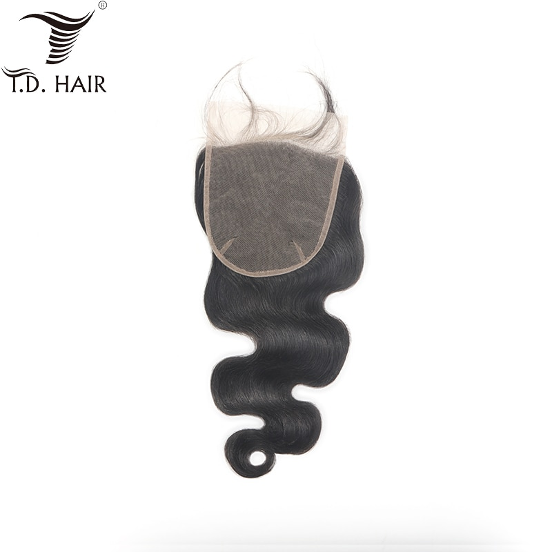 [해외]Brazilian Hair Weave Body Wave 6*6 Lace Closure tdhair Natural Color Human Hair Free Part Pre Plucked Bleached Knots Closure/Brazilian Hair Weave