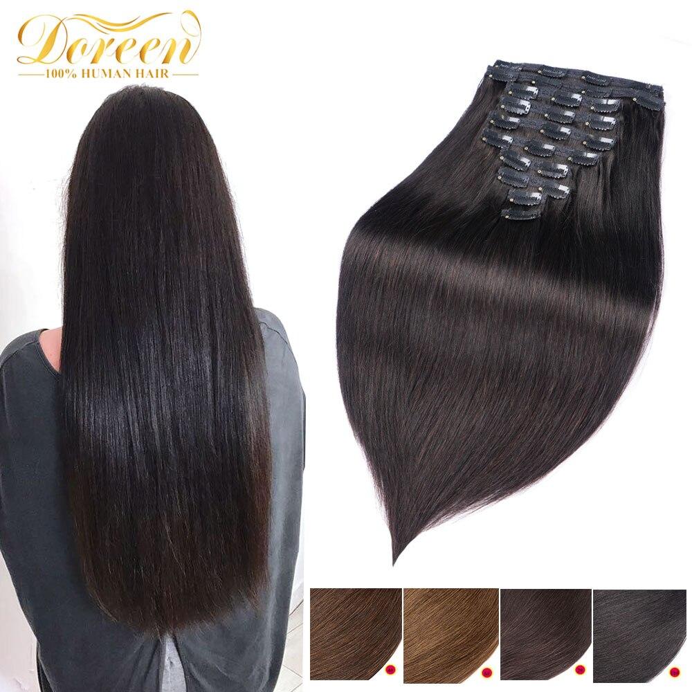 [해외]Doreen 160G 200G Brazilian Machine Made Remy Straight Clip In Human Hair Extensions 1 1B 2 4 8 Full Head Set 10Pcs 16-22/Doreen 160G 200G Brazilia