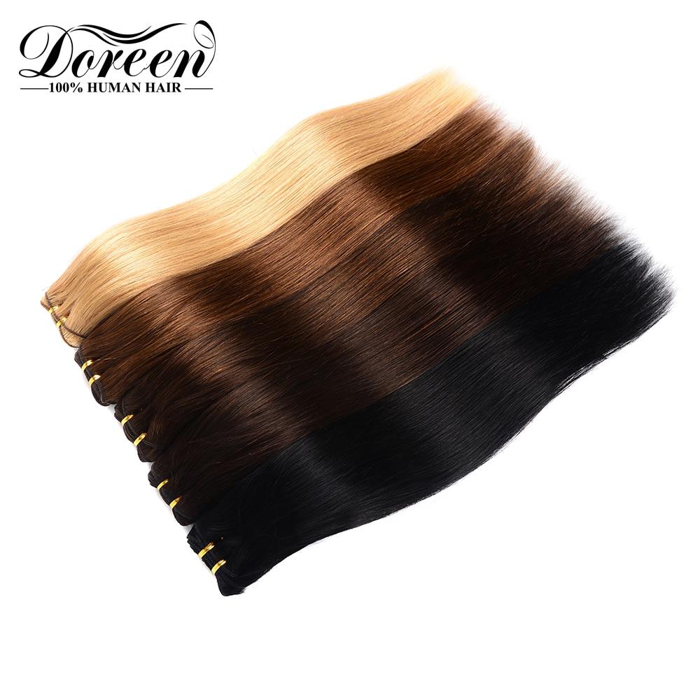 [해외]Doreen 풀 헤드 유럽 기계 레미 헤어 7 개/대 120g 스트레이트 클립 헤어 익스텐션 자연 인간의 머리카락 14 \\\