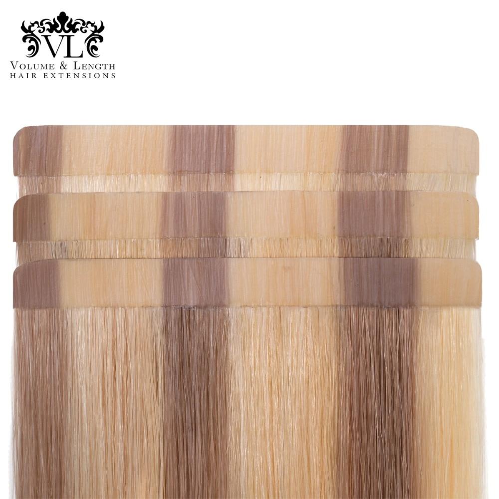 [해외]VL 2.5g/pc Tape In Remy 100% Human Hair Extensions Straight Hair 20 pcs/pac 18`` Tape Hair Weft Ombre Blonde/Brown VL18T18/VL 2.5g/pc Tape In Remy