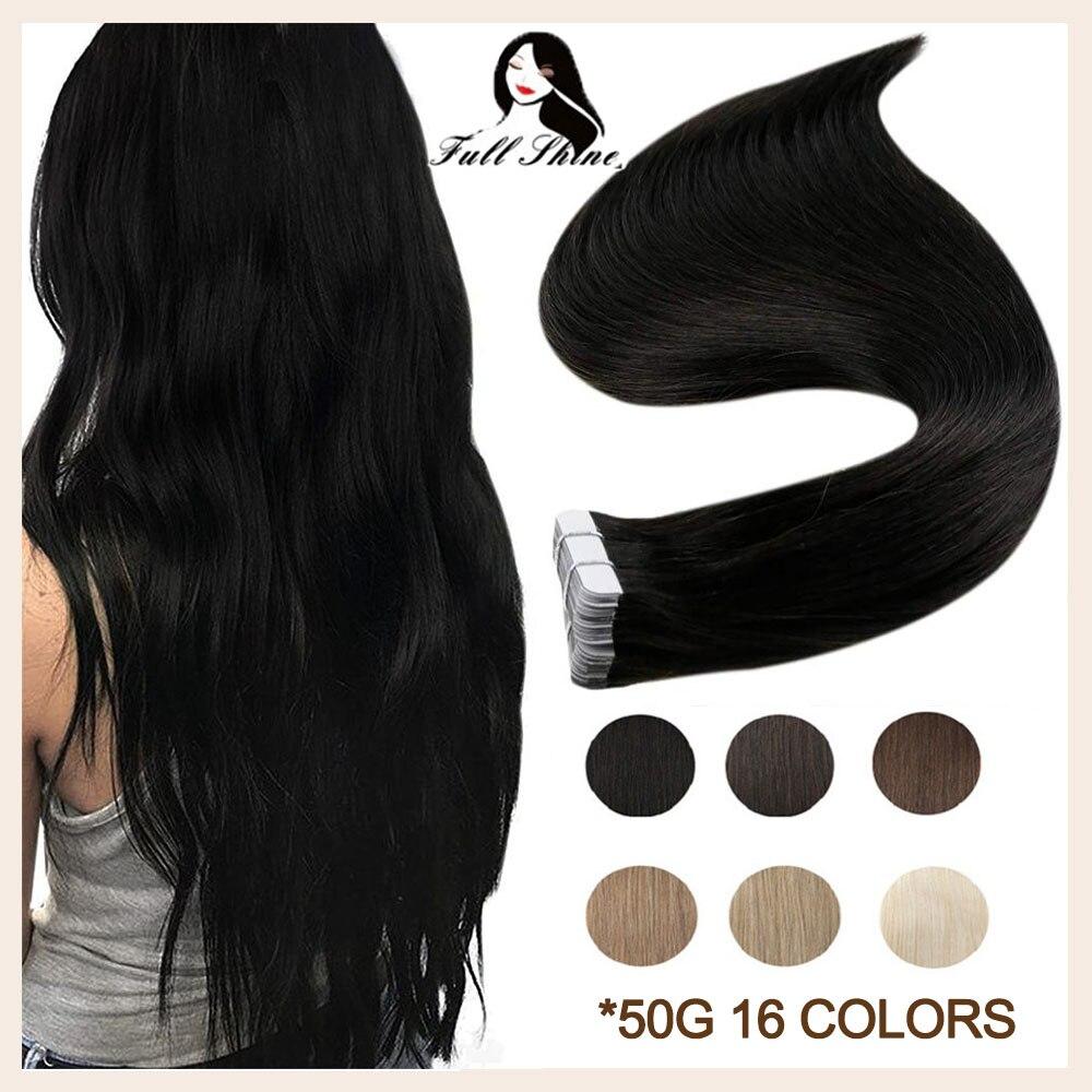 [해외]Full Shine Remy Human Hair Extensions Tape in Hair Pure Colorful Hair 50g 20Pcs Adhesive Tape on Hair Perucas De Cabelo Humano/Full Shine Remy Hum