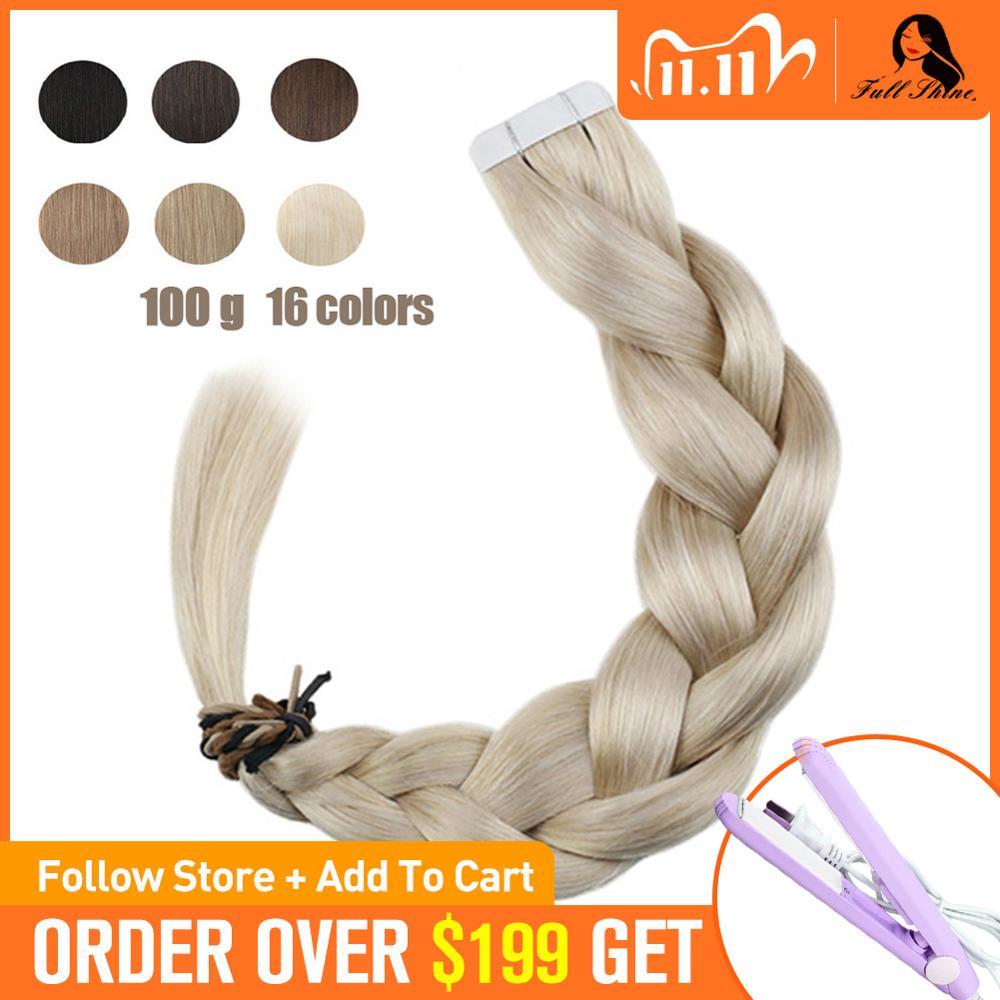 [해외]Full Shine Solid Tape in Hair Extensions 100% Human Remy Hair 100g 40Pcs Colorful Tape on Hair Skin Weft Cheveux Extension/Full Shine Solid Tape i