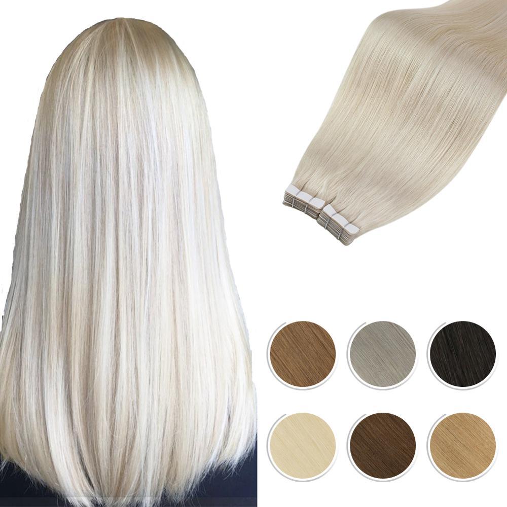 [해외]Moresoo Remy Tape In Hair Extensions Real Brazilian Human Hair Skin Weft Platinum Blonde 60 Tape in Hair 25G-100G 2.5g/pcs/Moresoo Remy Tape In Ha