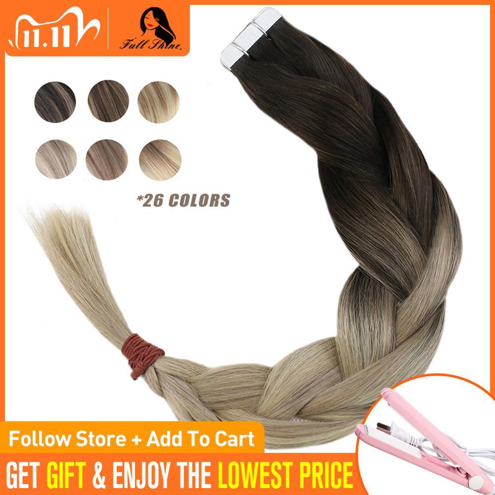 [해외]Full Shine Human Hair Extension Remy Tape In 20 Pcs 50Gram Balayage Color 1B Dark Roots Fading to 1860 Plantinum Blonde/Full Shine Human Hair Exte