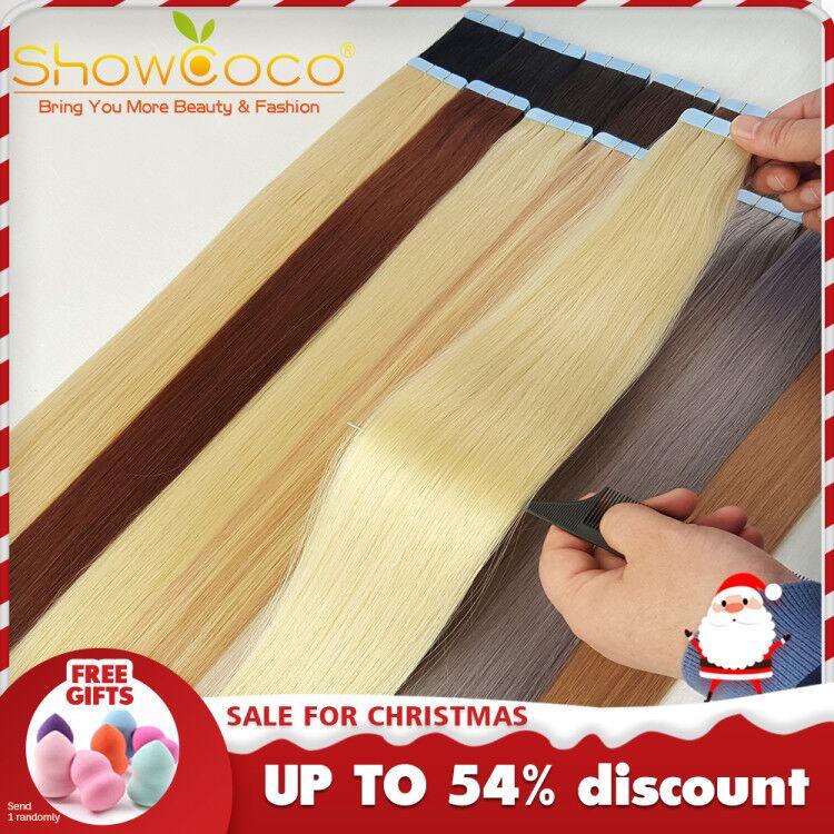 [해외]Tape in Hair Extensiones Human Balayage Double Sided Adhesive Remy Russian Hair ShowCoco 40/20 per Pack seamless Tape on Hair/Tape in Hair Extensi