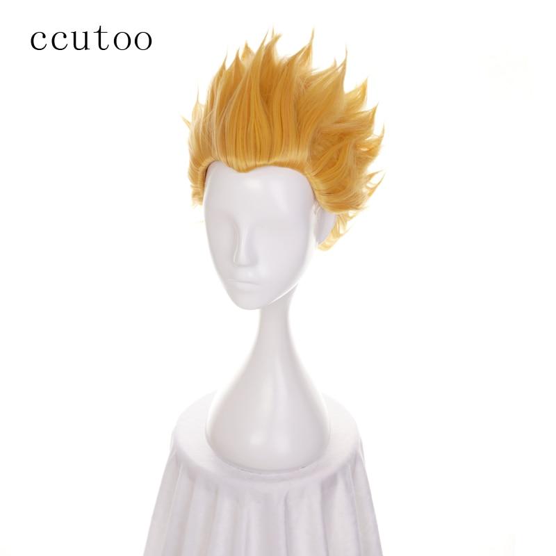 [해외]/ccutoo Fate/Stay Night Zero Gilgamesh Golden Short Slicked Synthetic Hair Cosplay Wigs For Party Halloween Costume