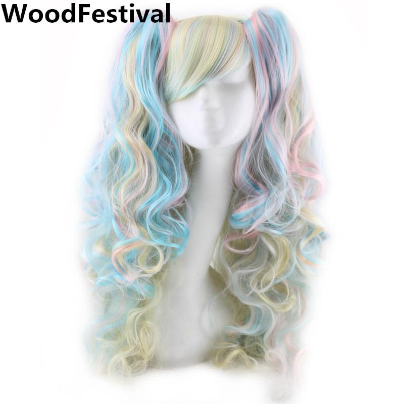 [해외]/WoodFestival Two Ponytails Wig Cosplay Wigs For Women Heat Resistant Fiber Hair Synthetic Mixed Color Wig Curly Long