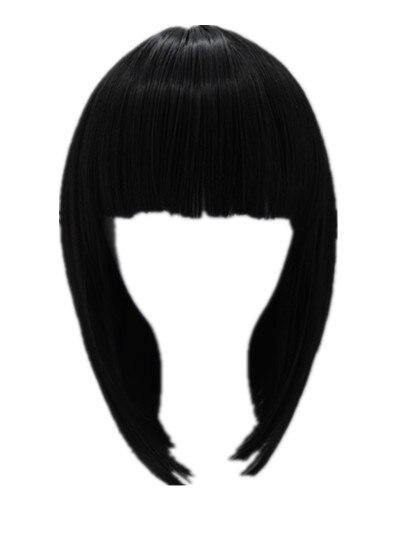 [해외]/Black Bob Wig Fei-Show Synthetic Heat Resistant Fiber Hairpieces Oblique Fringe Bangs Short Wavy Hair Halloween Carnival Hairset