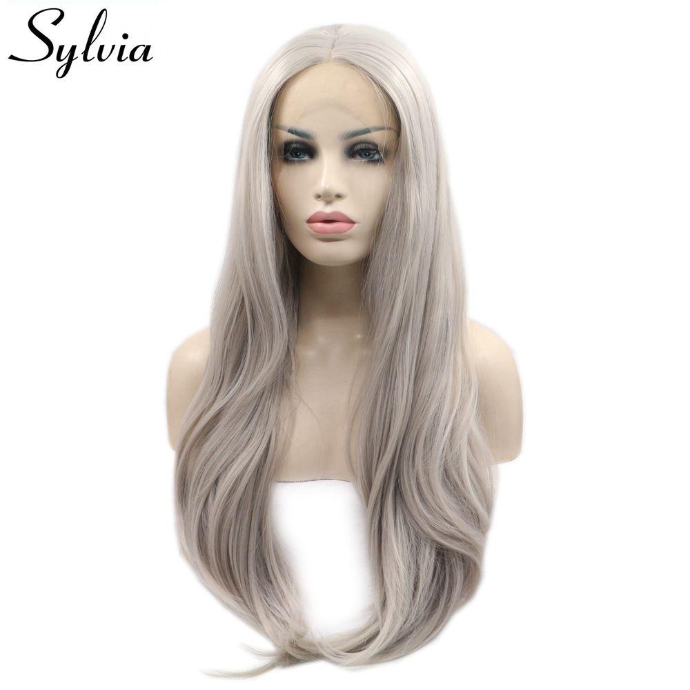 [해외]/Sylvia Ash Platinum Blonde Natural Straight Synthetic Lace Front Wigs Middle Part  Long Heat Resistant Fiber Hair Half Hand Tied