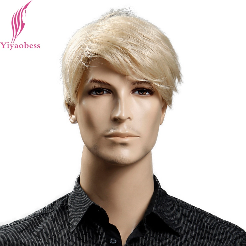[해외]/Yiyaobess 6inch Heat Resistant Synthetic Short Blonde Wig Natural Hair Men Straight hairStyles