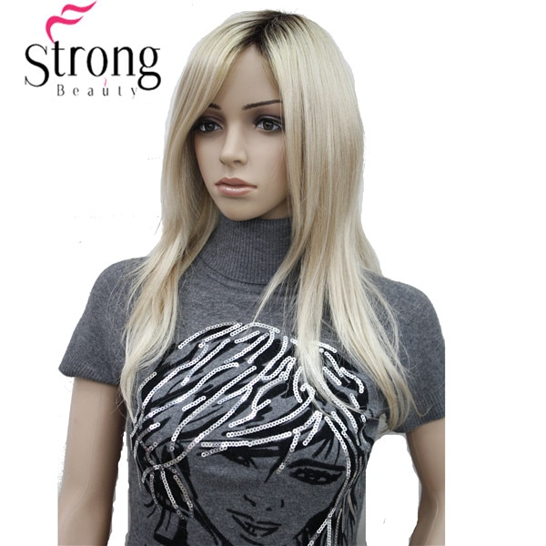 [해외]Long Straight BlondeDark Roots, Side Swept Bangs Synthetic Wig/Long Straight BlondeDark Roots, Side Swept Bangs Synthetic Wig