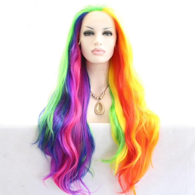 [해외]/Sylvia Mixed Color Rainbow Natural Wave Wigs Heat Resistant Fiber Fair For Women Synthetic Lace Front Wig Cosplay