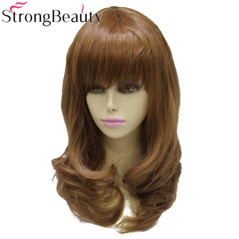 강한 아름다움 합성 곱슬 긴 중간 auburn 가발 내열성 여성 가발 자연 머리카락