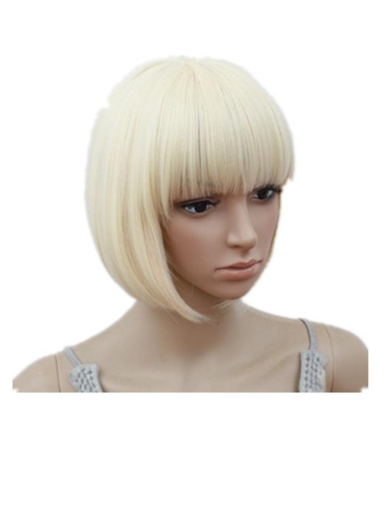 [해외]/Blonde Wig Fei-Show Short Wavy Flat Bangs Bob Student Hair Synthetic Heat Resistant Halloween Cos-play Party Salon Hairpiece