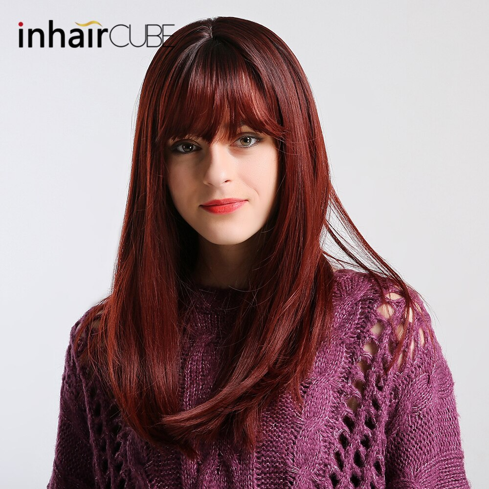[해외]/Esin 24 Inch Women`s Wigs Centre Parting Long Natural Wave Synthetic Layered Style Hair Dark BrownHighlights Full Wig