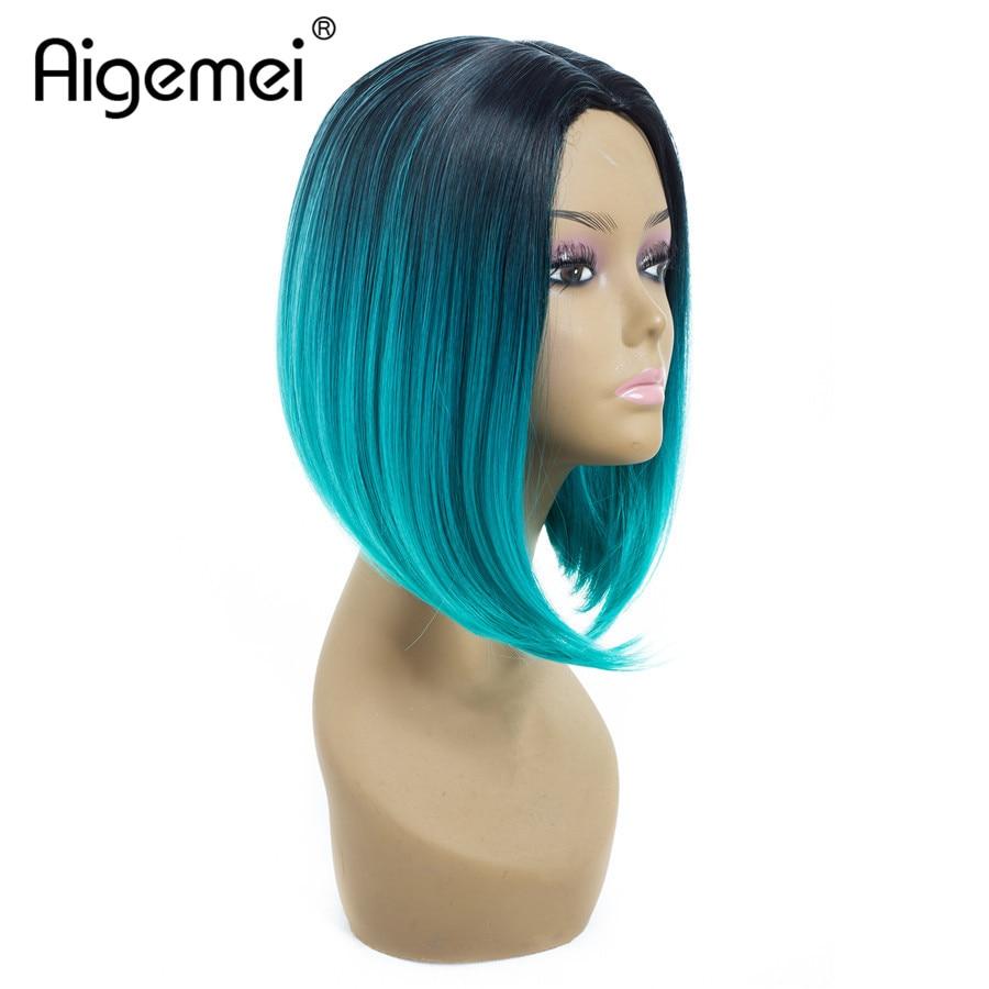 [해외]/Aigemei Bob Short Shoulder Length Ombre 8 Colors Straight Synthetic Wigs For Women