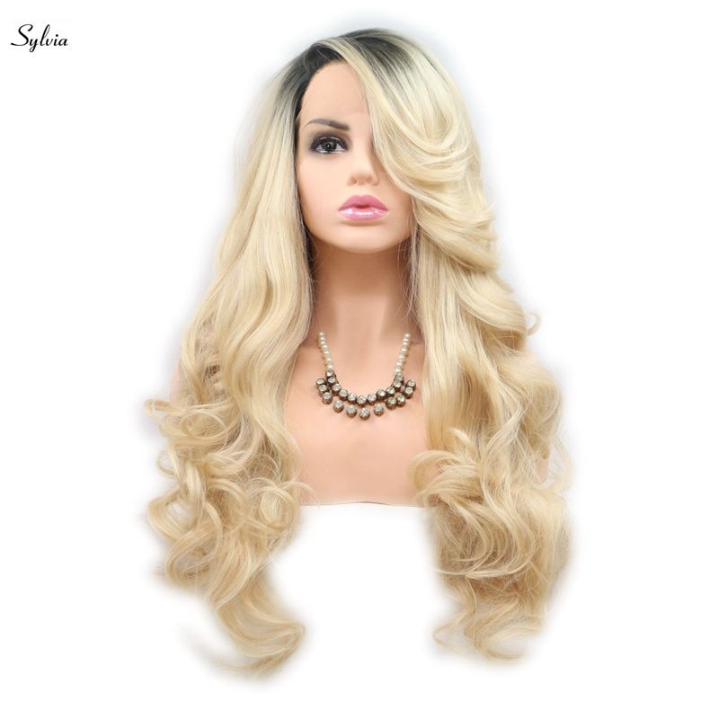 [해외]/Sylvia Blonde Synthetic Lace Front Wigs Ombre Long Body WaveDark Roots Heat Resistant Fiber Hair Wig For Women Side Part