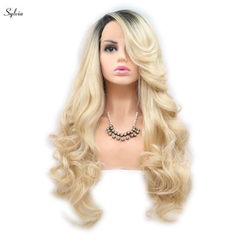 [해외]/Sylvia Blonde Synthetic Lace Front Wigs Ombre Long Body WaveDark Roots Heat Resistant Fiber Hair Wig For Women Side Part