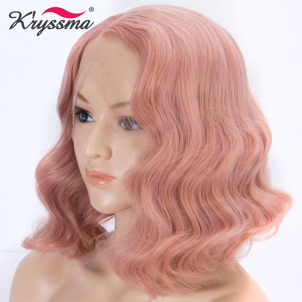 [해외]/Peach Pink Wigs for Women Short Bob Synthetic Lace Front Wig Rose Golden Mixed Color Wavy Wig Glueless Heat Resistant Fiber