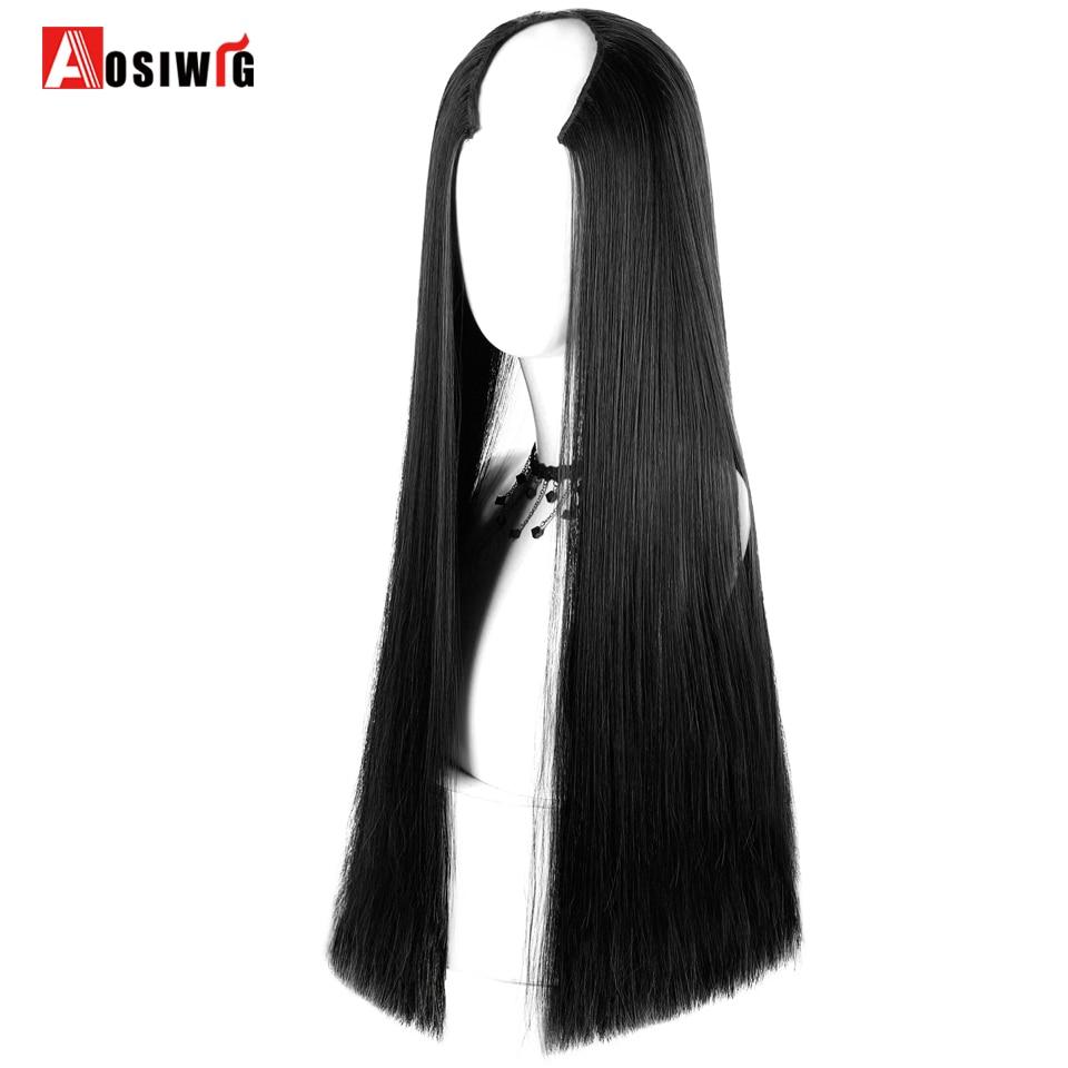[해외]/6 Clips In U Part Long Straight Hair for Women Wig Natural Black False Hair Cosplay Classic Wig For Africa American AOSIWIG