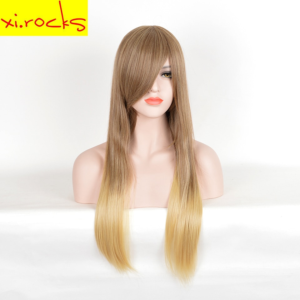 [해외]/Xi.rocks 75CM Blonde Brown Long Straight Synthetic Wig High For Black/White Women Temperture Fiber Wigs
