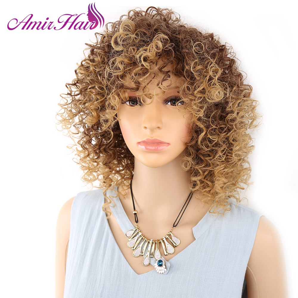 [해외]/Amir Short Blonde And Brown Afro Kinky Curly Wig Fluffy Wigs for American Women Synthetic Hair High Temperature cosplay