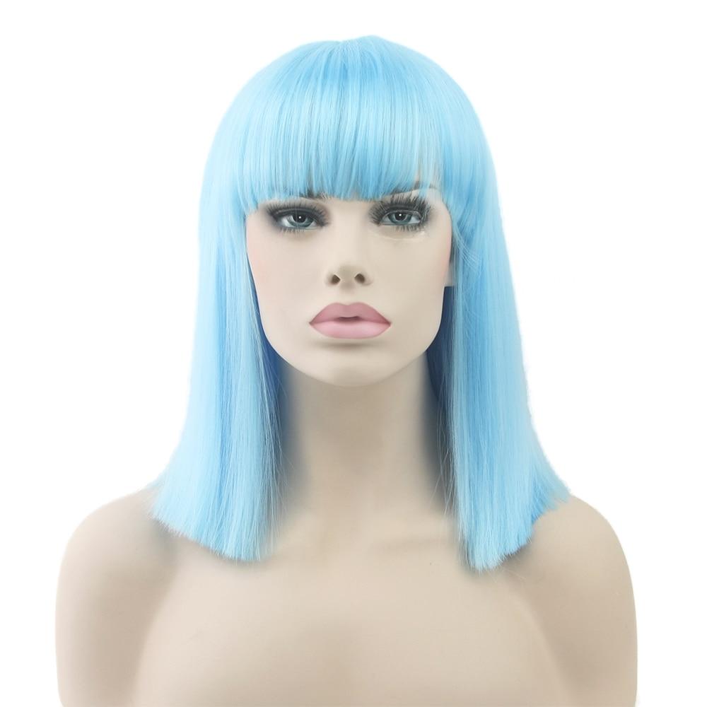 [해외]Soowee Short Straight White Wig High Temperature Fiber Synthetic Hair Black Gray Women Party Hairpiece Cosplay Wigs/Soowee Short Straight White Wi